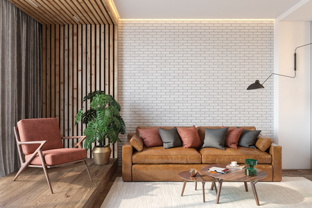 Modern living room interior with brick wall blank wall, leather brown sofa, red lounge chair, table, wooden wall and floor, plants, carpet, hidden lighting. 3d render illustration mockup. Stok Fotoğraf