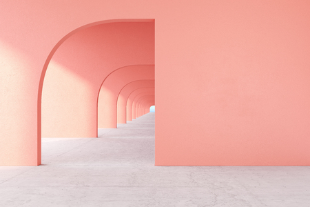 Coral, pink color architectural corridor with empty wall, concrete floor, horizon line. 3d render illustration mock up