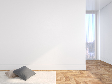 White blank wall empty interior with pillows, carpet, curtain and herringbone wood floor.