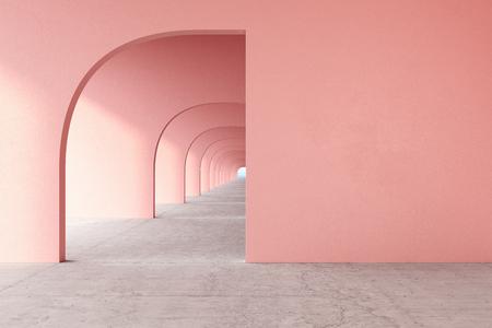 Pink, rose quartz color architectural corridor with empty wall, concrete floor, horizon line.