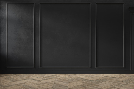 Modern classic black empty interior with wall panels and wooden floor. 3d render illustration mock up. Stok Fotoğraf - 123773003