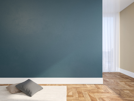 Blue blank wall empty interior with pillows, carpet, curtain and herringbone wood floor. 3d render illustration mock up