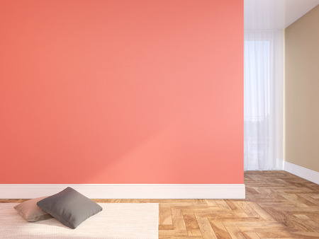 Coral, pink blank wall empty interior with pillows, carpet, curtain and herringbone wood floor. 3d render illustration mock up