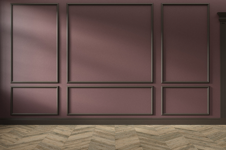 Modern classic red, marsala, burgundy color empty interior with wall panels, mouldings and wooden floor. 3d render illustration mock up.