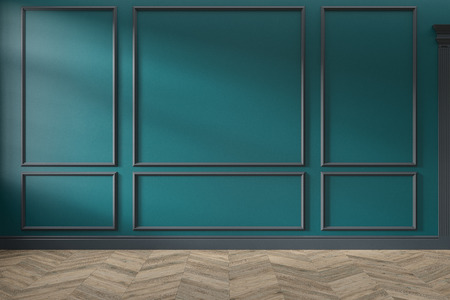 Modern classic green, turquoise color empty interior with wall panels, mouldings and wooden floor. 3d render illustration mock up. Stok Fotoğraf