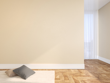 Beige blank wall empty interior with pillows, carpet, curtain and herringbone wood floor. 3d render illustration mock up Stok Fotoğraf