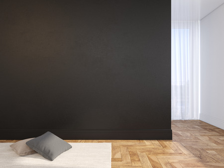 Black blank wall empty interior with pillows, carpet, curtain and herringbone wood floor. 3d render illustration mock up