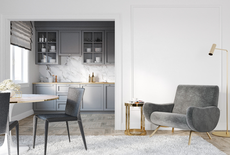 Modern classic white gray interior with lounge chair, armchair, kitchen, dining table, carpet, floor lamp and mouldings. 3d render illustration mock up.