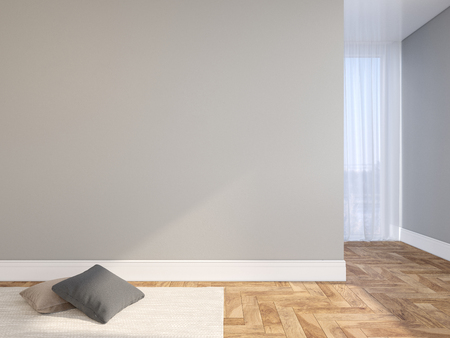 Gray blank wall empty interior with pillows, carpet, curtain and herringbone wood floor. 3d render illustration mock up Stok Fotoğraf
