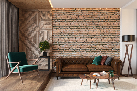 Modern living room interior with brick wall blank wall, leather brown sofa, green lounge chair, table, wooden wall
