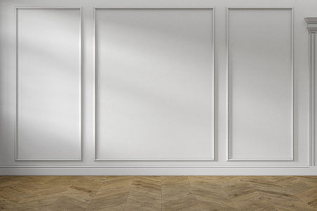 Modern classic white empty interior with wall panels and wooden floor.