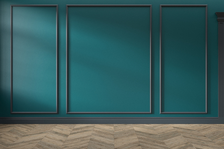 Modern classic green empty interior with wall panels and wooden floor.