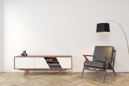 Mid century modern interior empty room with white wall, dresser, console, lounge chair, armchair