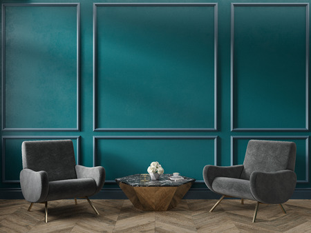 Classic green blue turquoise interior empty room with armchairs coffee table flowers mouldings and wooden floor. 3d render illustration mock up Stok Fotoğraf