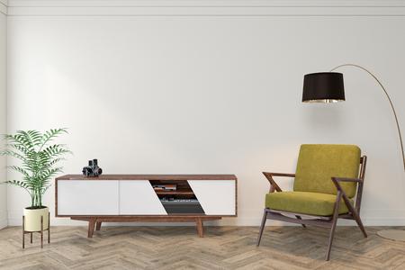 Pièce vide intérieure moderne du milieu du siècle avec mur blanc, commode, console, chaise longue jaune, fauteuil, lampadaire, parquet. Maquette d'illustration de rendu 3D. Banque d'images