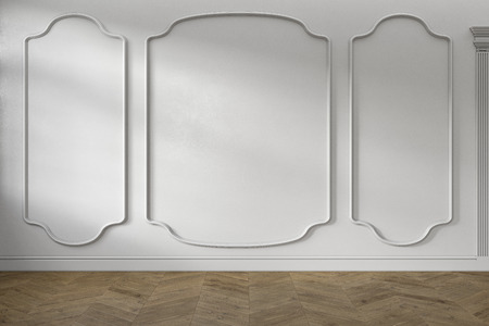 Modern classic baroque white empty interior with wall panels and wooden floor. 3d render illustration mock up. Stok Fotoğraf