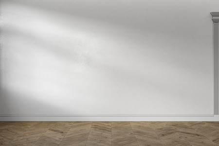 Modern classic white empty interior with blank wall and wooden floor. 3d render illustration mock up.