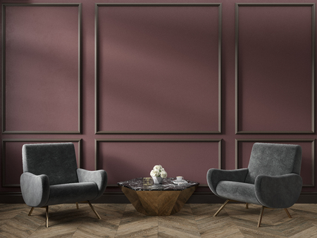Classic red marsala color interior empty room with armchairs coffee table flowers mouldings and wooden floor. 3d render illustration mock up. Stok Fotoğraf