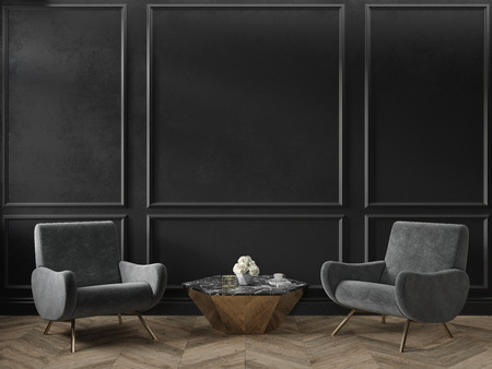 Classic black interior empty room with armchairs coffee table flowers mouldings and wooden floor. 3d render illustration mock up Stok Fotoğraf