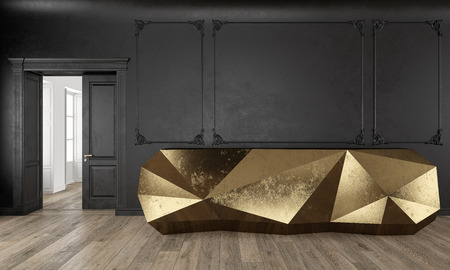 Gold reception table in classic black color interior with moldings and wooden floor. 3d render illustration mock up.