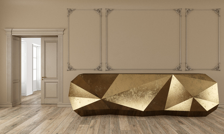 Gold reception table in classic beige color interior with moldings and wooden floor. 3d render illustration mock up. Stok Fotoğraf