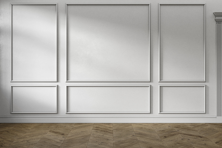 Modern classic white color empty interior with wall panels, mouldings and wooden floor. 3d render illustration mock up. Stok Fotoğraf