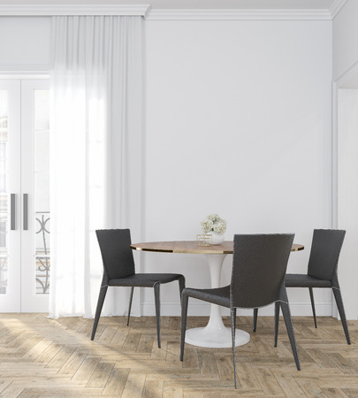 Classic white empty interior room with dinner table, chairs, curtain, wooden floor and flowers.