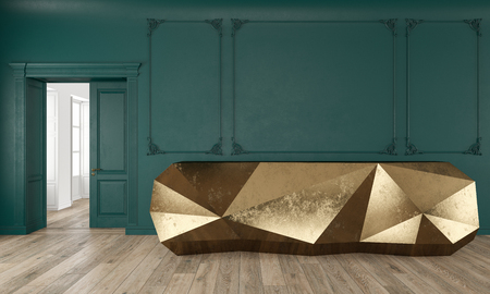 Gold reception table in classic green color interior with moldings and wooden floor.