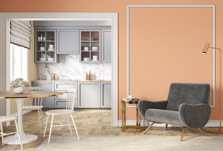 Modern classic peach beige interior with lounge chair, armchair, kitchen, dining table Stok Fotoğraf