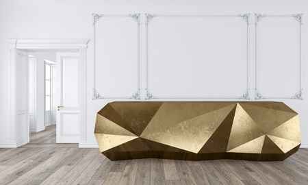 Gold reception table in classic white color interior with moldings and wooden floor. Stok Fotoğraf