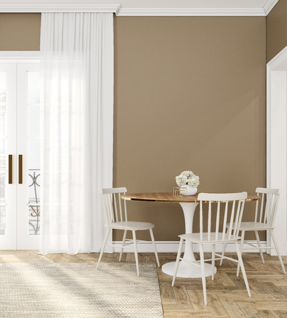 Classic beige empty interior room with dinner table, chairs, curtain, wooden floor and flowers.