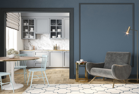 Modern classic blue gray interior with lounge chair, armchair, kitchen, dining table, carpet, floor lamp and mouldings.