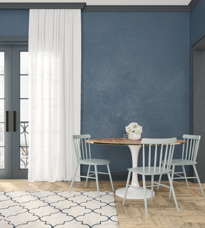 Classic blue empty interior room with dinner table, chairs, curtain, wooden floor and flowers. 3d render illustration.