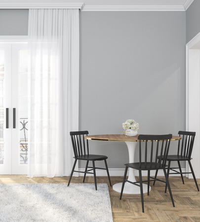Classic gray empty interior room with dinner table, chairs, curtain, wooden floor and flowers. 3d render illustration.