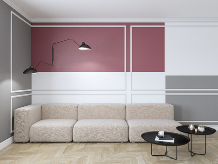 Empty interior with red geometric print on the wall. Sofa, coffee table and wood floor. 3d render interior mock up.