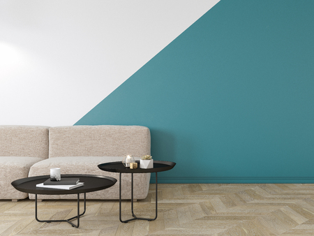 Empty interior with blue geometric print on the wall. Sofa, coffee table and wood floor. 3d render interior mock up.
