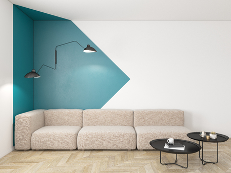 Empty interior with blue geometric print on the wall. Sofa, coffee table and wood floor.