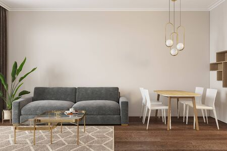 Empty room with sofa, dinner table, chairs, lamps coffee table and carpet. 3d render illustration mock up.