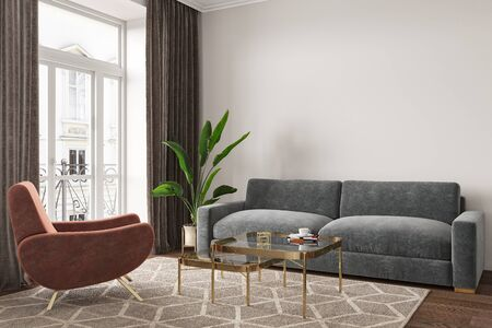 Empty room interior with sofa, armchair, table, carpet and plants. 3d render illustration mock up.