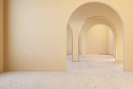 Beige interior with archs and terrazzo floor. Stok Fotoğraf