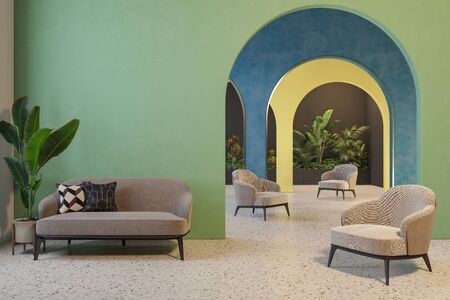 Colorful interior with archs, sofa, armchairs, terrazzo floor and plants.
