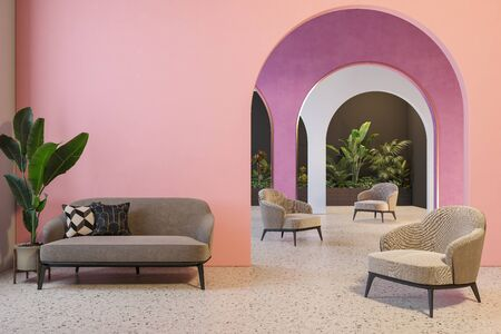Colorful interior with archs, sofa, armchairs, terrazzo floor and plants. 3d render illustration mock up