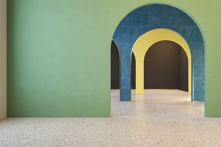 Colorful interior with archs and terrazzo floor. 3d render illustration mock up