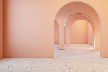 Peach pink coral interior with archs and terrazzo floor. 3d render illustration mock up Stok Fotoğraf