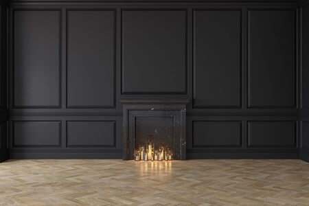 Modern classic black interior with fireplace, wall panels, wooden floor. 3d render illustration mock up