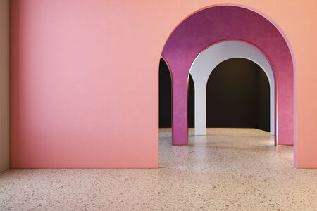 Colorful interior with archs and terrazzo floor.