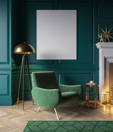 Classic green interior with armchair, fireplace, candle, floor lamp, carpet. 3d render illustration mock up.