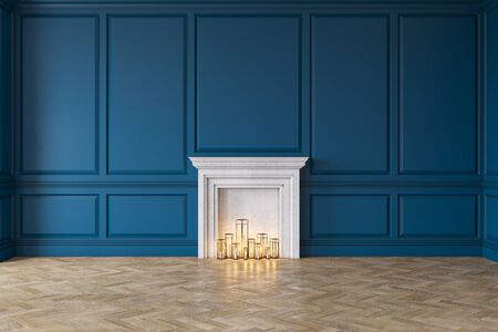 Modern classic blue interior with fireplace, wall panels, wooden floor.