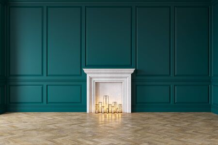 Modern classic blue interior with fireplace, wall panels, wooden floor. 3d render illustration mock up Stok Fotoğraf