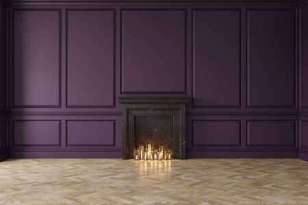 Modern classic purple interior with fireplace, wall panels, wooden floor. 3d render illustration mock up